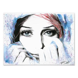 Girl portrait watercolor painting photo print