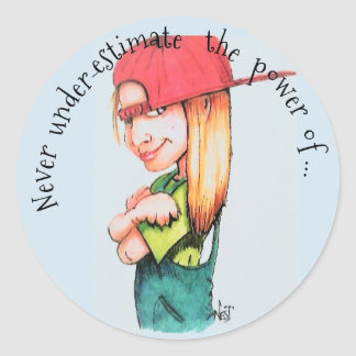 'Girl Power' 3 inch Glossy Round Stickers