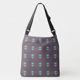 Girl Power Alien Head Tote Bag with Tiled Pattern