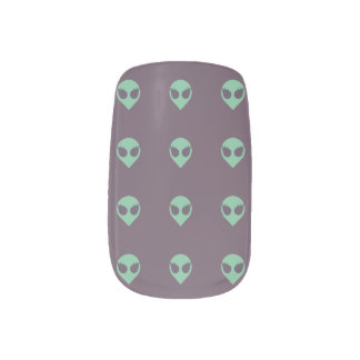 Girl Power Alien Nail Decals with Tiled Heads