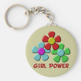 Girl Power! Basic Round Button Key Ring