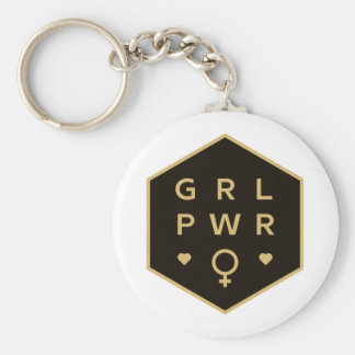 Girl Power | Black Colorful Graphic Design Key Ring
