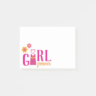 Girl power fuchsia pink yellow floral plaid dress post-it notes