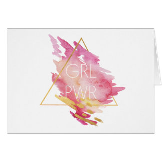 Girl Power in Pink & Gold - Abstract Watercolor Card