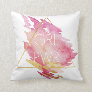 Girl Power in Pink & Gold - Abstract Watercolor Cushion