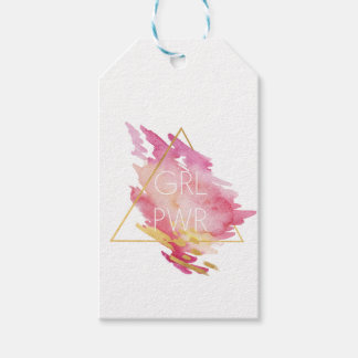 Girl Power in Pink & Gold - Abstract Watercolor Gift Tags