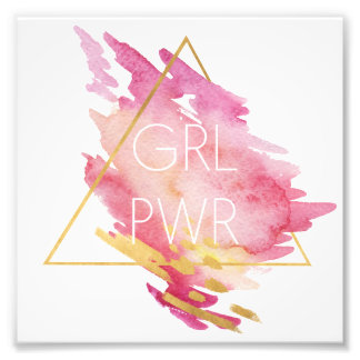 Girl Power in Pink & Gold - Abstract Watercolor Photo Print