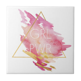 Girl Power in Pink & Gold - Abstract Watercolor Tile