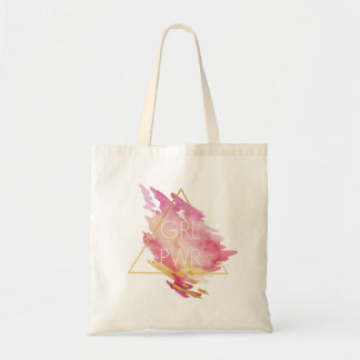Girl Power in Pink & Gold - Abstract Watercolor Tote Bag