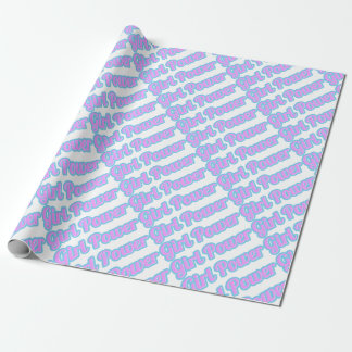 Girl Power Light Pink and Light Blue Wrapping Paper