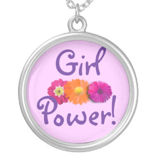Girl Power! Pink, Purple, Orange Flowers Round Pendant Necklace