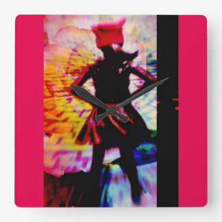 Girl power pussy hat square wall clock
