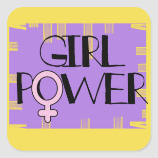Girl Power Square Stickers