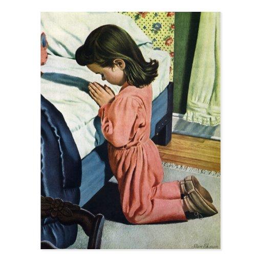 Girl Praying Bedtime, Vintage Christian Religion Post Cards