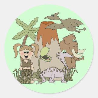 Girl Prehistoric Life Classic Round Sticker
