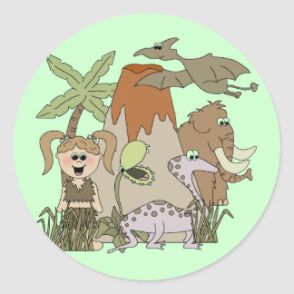 Girl Prehistoric Life Round Sticker