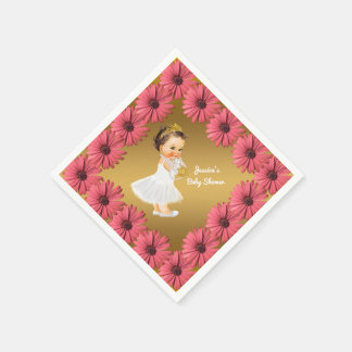Girl Princess Baby Shower | Floral Daisies Gold Paper Napkins