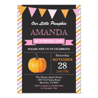 Girl Pumpkin Birthday Invitation Orange and Pink