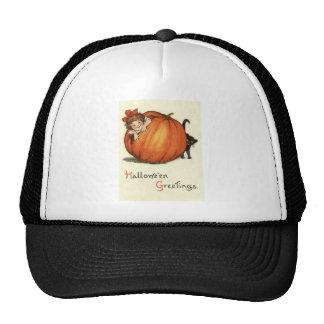 Girl Pumpkin Black Cat Cap