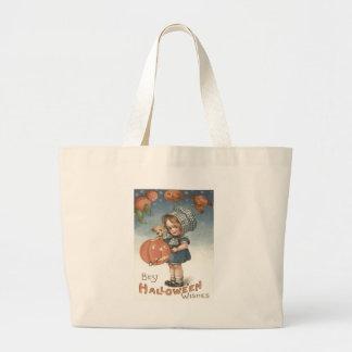 Girl Puppy Jack O Lantern Pumpkin Jumbo Tote Bag