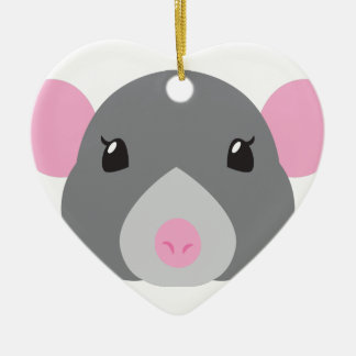 girl rat face grey ceramic heart decoration