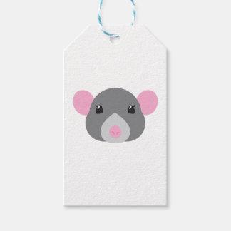 girl rat face grey gift tags