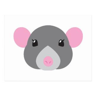 girl rat face grey postcard