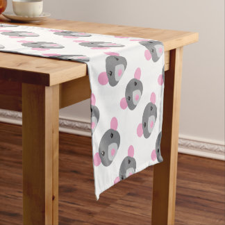 girl rat face grey short table runner