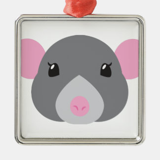 girl rat face grey Silver-Colored square decoration