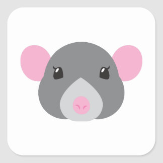 girl rat face grey square sticker