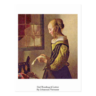 Girl Reading A Letter By Johannes Vermeer Postcard
