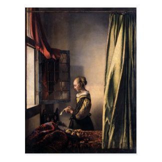 Girl Reading Letter at Open Window by Vermeer Postcard