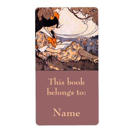 Girl Reading Under Tree Bookplate Shipping Label