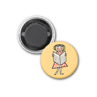 Girl Reading Yellow Encouragment Support Books Magnets