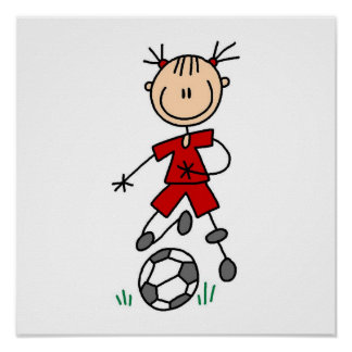 Girl Red Uniform Stick Figure Soccer Player Gifts Poster