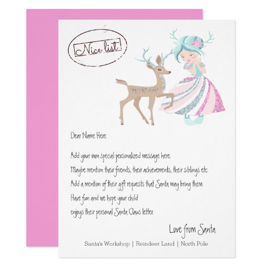 Girl Reindeer Letter From Santa Personalised Card
