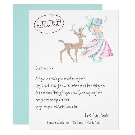 Girl Reindeer Letter From Santa Personalised Card