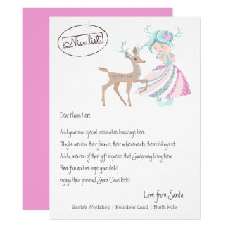 Girl Reindeer Letter From Santa Personalized Card