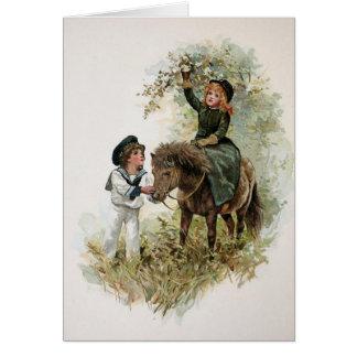 Girl Rides Shetland Pony Vintage Greeting Card