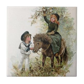 Girl Rides Shetland Pony Vintage Tile