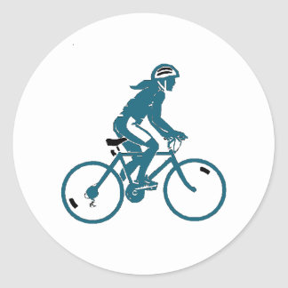 Girl Riding a Bike Round Sticker