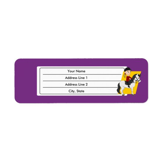 Girl riding a horse cartoon return address label