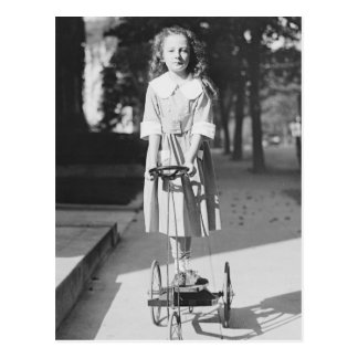 Girl Riding Tricycle, 1918 Postcard