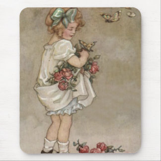 Girl Rose Butterfly Birthday Mouse Pad
