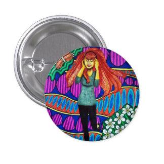 Girl Running In Psychedelic Garden Pin