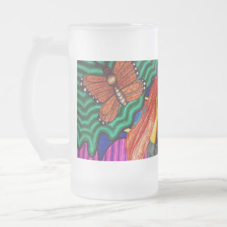 Girl Running In Psychedelic Garden Frosted Glass Beer Mug