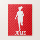 Girl Running; Scarlet Red Stripes Jigsaw Puzzle