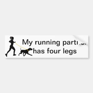 Girl running with her dog bumper sticker