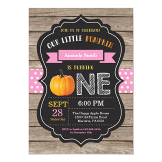 Girl Rustic Pumpkin First Birthday Invitation
