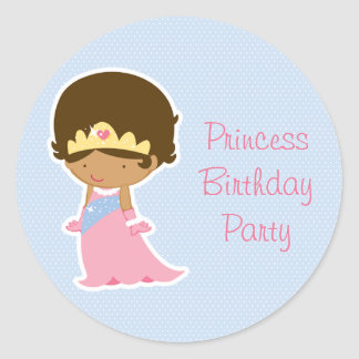Girl s cute blue princess birthday party stickers